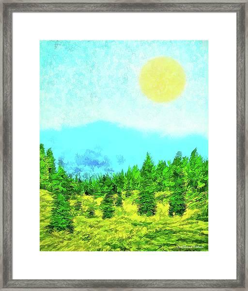 Pine Tree Mountain Blue - Shasta California Framed Print