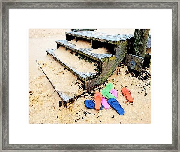 Pink And Blue Flip Flops By The Steps Framed Print