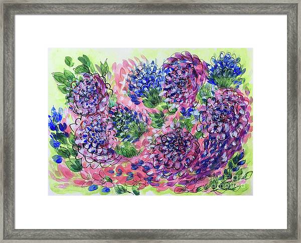 Pink And Blue Flower Flurry Framed Print