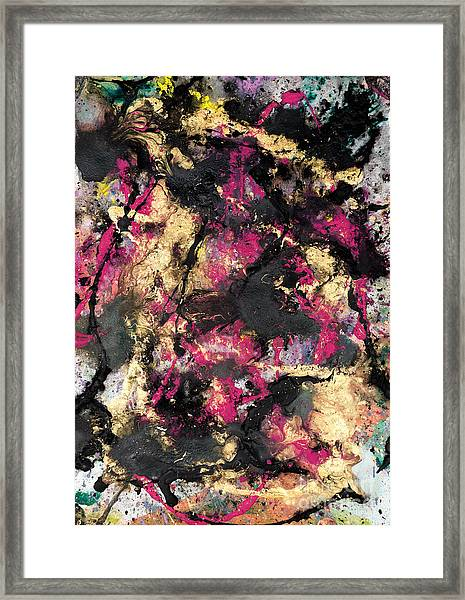 Pink And Gold Merge Framed Print