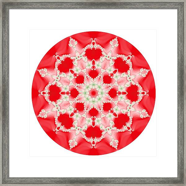 Pink And Green Watercolor Snowflake Fractal Framed Print