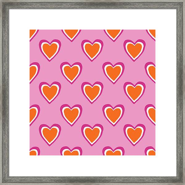 Pink And Orange Hearts- Art By Linda Woods Framed Print