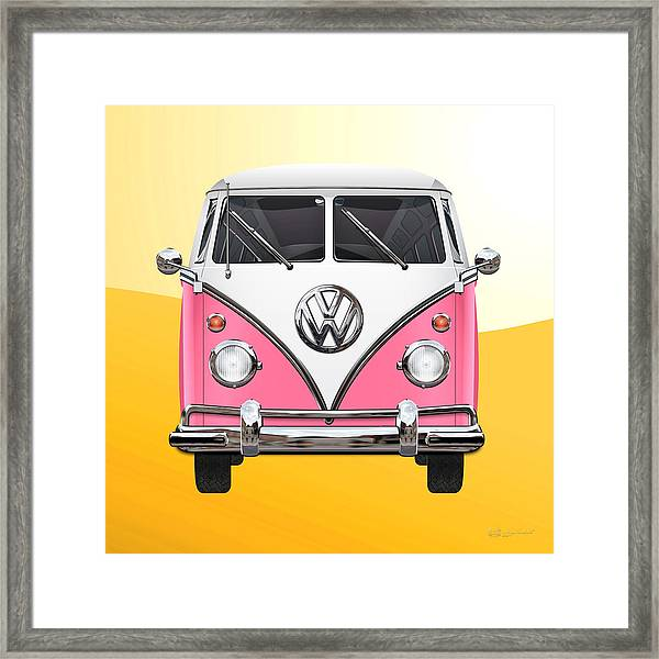 Pink And White Volkswagen T 1 Samba Bus On Yellow Framed Print