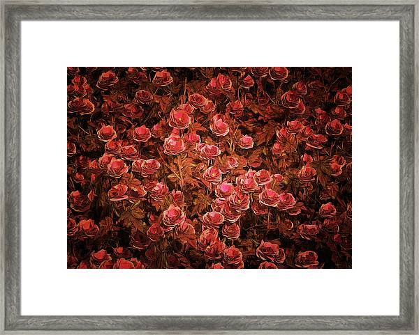 Framed Print featuring the painting Pink Bionica Roses by Jan Keteleer