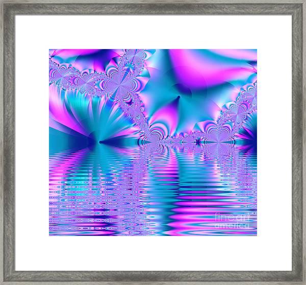 Pink, Blue And Turquoise Fractal Lake Framed Print