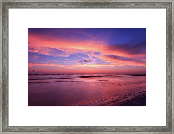 Pink Sky And Ocean Framed Print