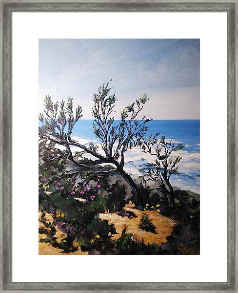 Framed Print featuring the painting Pink Flower by Ray Khalife