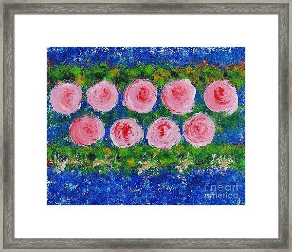 Pink Flowers On Green And Blue Framed Print