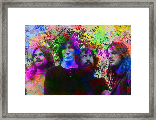 Pink Floyd Band Portrait Paint Splatters Pop Art Framed Print