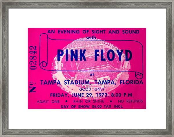 Pink Floyd Concert Ticket 1973 Framed Print