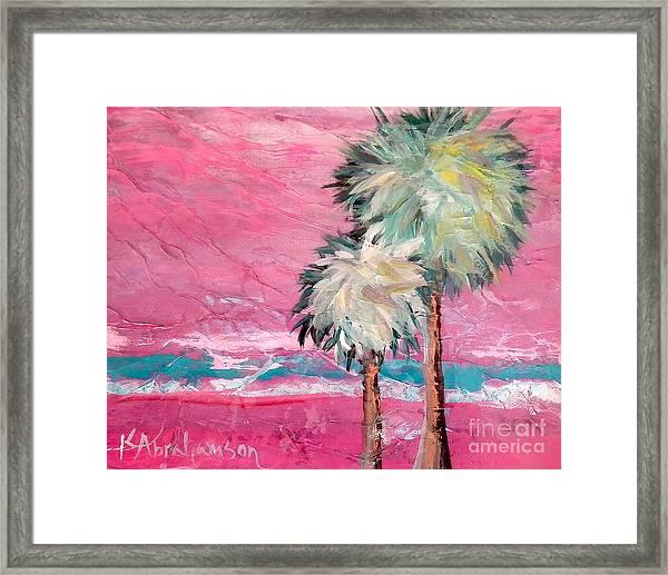 Pink Horizon Palms Framed Print