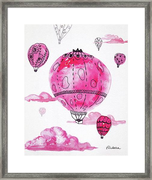 Pink Hot Air Baloons Framed Print