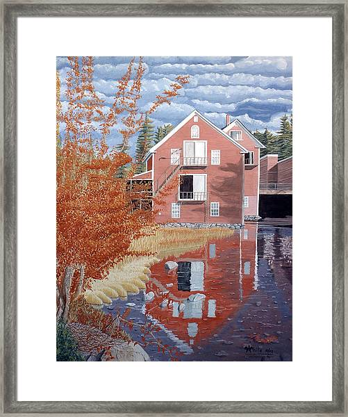 Framed Print featuring the painting Pink House In Autumn by Dominic White