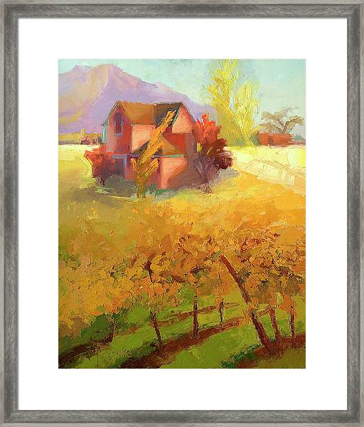 Pink House Yellow Framed Print by Cathy Locke