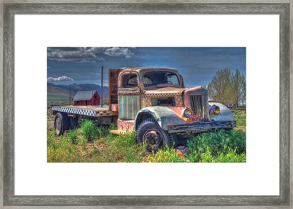 Classic Flatbed Truck In Pink Framed Print