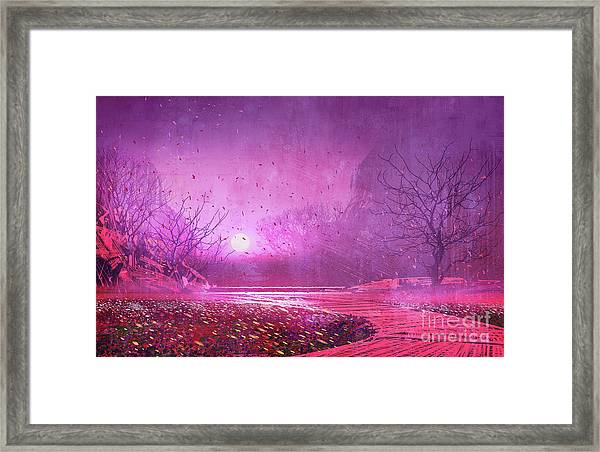 Framed Print featuring the painting Pink Landscape by Tithi Luadthong