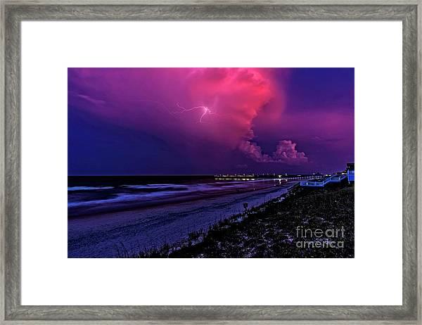 Pink Lightning Framed Print