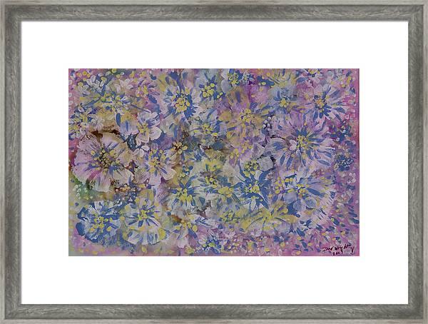 Pink On Blue Framed Print