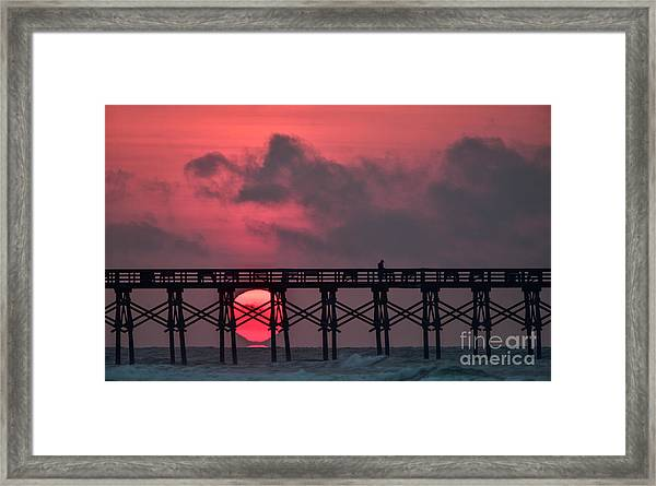Framed Print featuring the photograph Pink Pier Sunrise by DJA Images