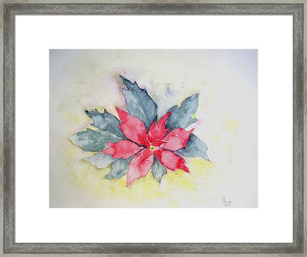 Pink Poinsetta On Blue Foliage Framed Print