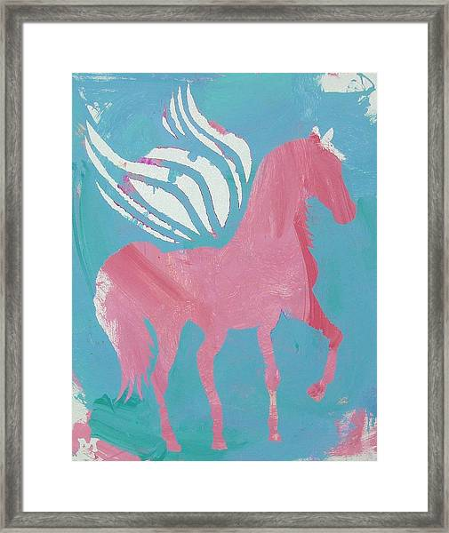 Framed Print featuring the painting Pink Princess Pegasus by Candace Shrope