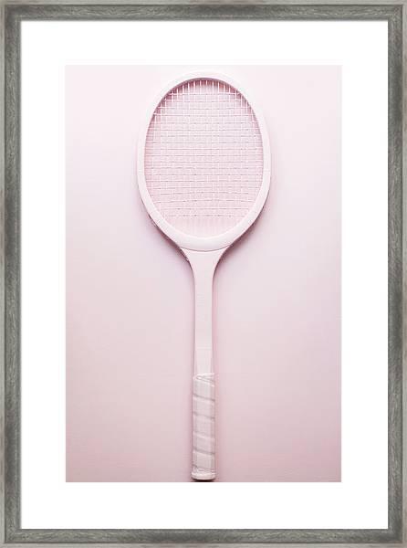 Pink Racket Tennis. Vintage Sport Framed Print