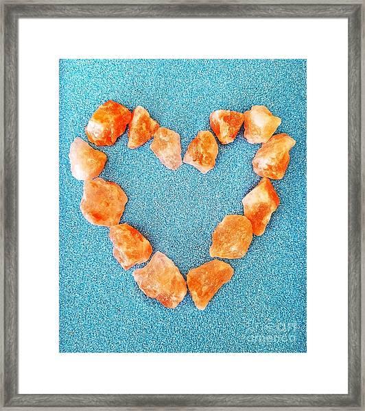 Pink Rocks Heart Framed Print
