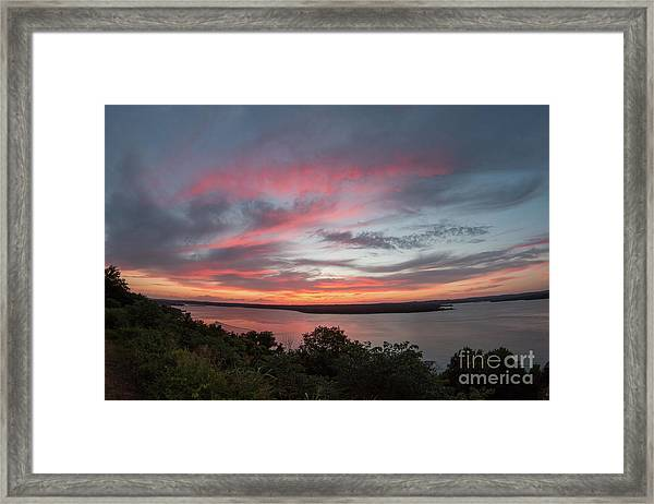 Pink Skies And Clouds At Sunset Over Lake Travis In Austin Texas Framed Print