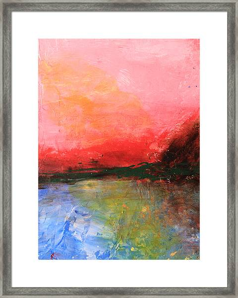 Pink Sky Over Water Abstract Framed Print