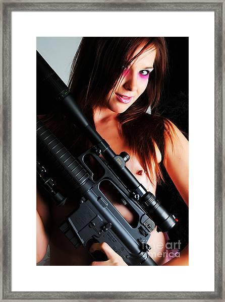 Pink Sniper Framed Print