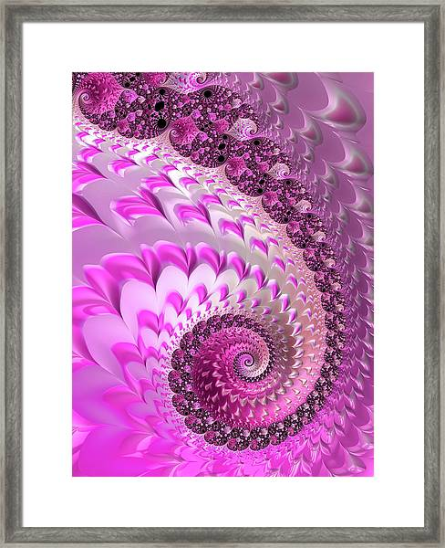 Pink Spiral With Lovely Hearts Framed Print