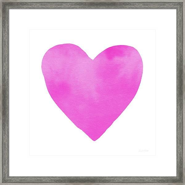 Pink Watercolor Heart- Art By Linda Woods Framed Print