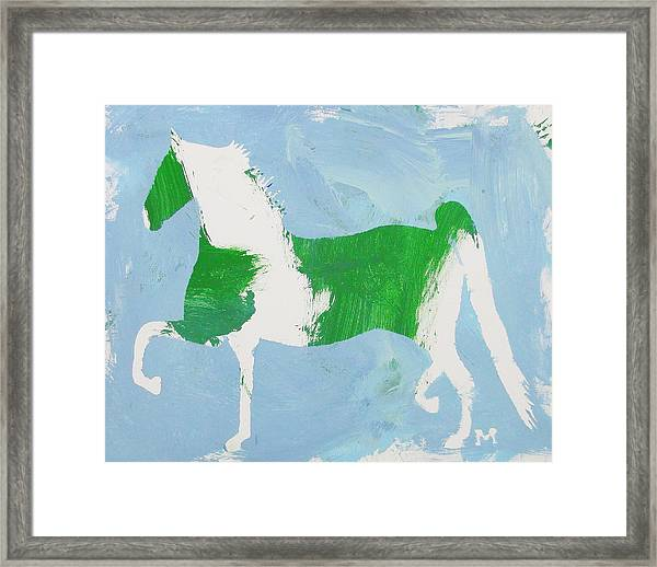 Framed Print featuring the painting Pinto Saddlebred by Candace Shrope