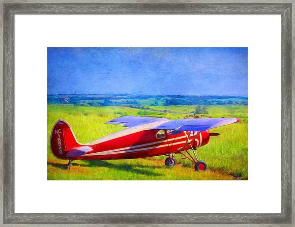Piper Cub Airplane In Kansas Prairie Framed Print