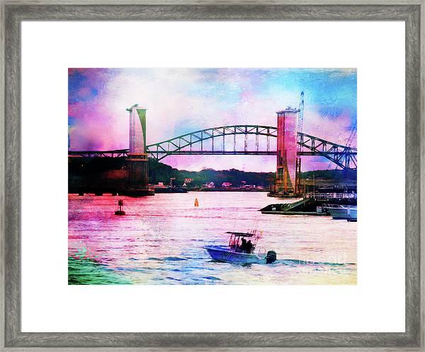Piscataqua River Bridge From Harborwalk Park, Portsmouth New Hampshire Framed Print