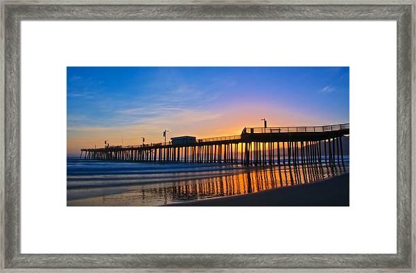 Pismo Beach And Pier Sunset Framed Print