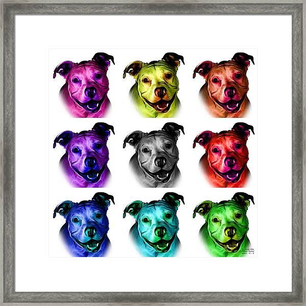 Pitbull Terrier - F - S - Wb - Mosaic Framed Print