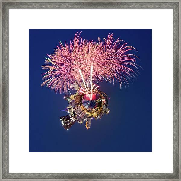 Pittsburgh Fireworks 2 Little Planet  Framed Print