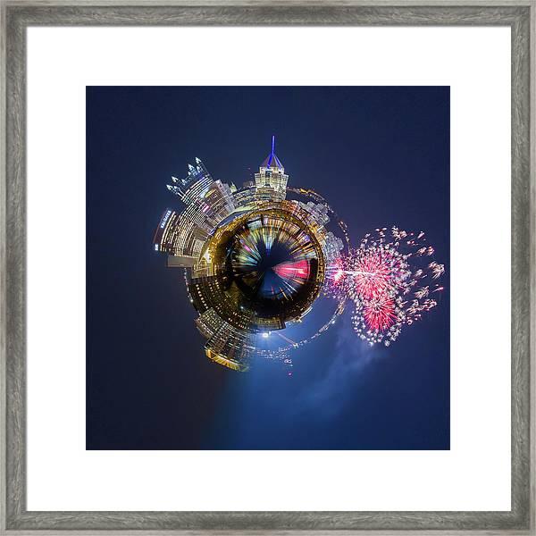 Pittsburgh Fireworks Little Planet  Framed Print