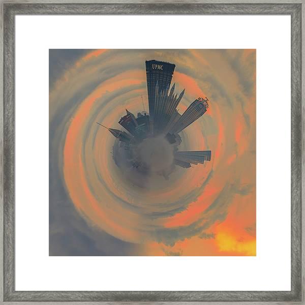 Pittsburgh Fog Little Planet  Framed Print