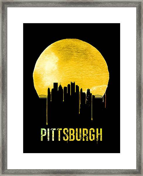 Pittsburgh Skyline Yellow Framed Print