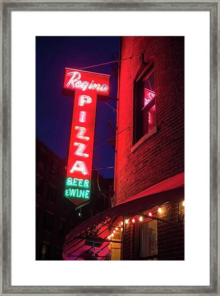 Pizzeria Regina Boston Ma North End Thacher Street Neon Sign Framed Print