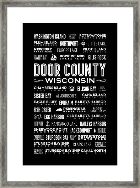 Places Of Door County On Black Framed Print