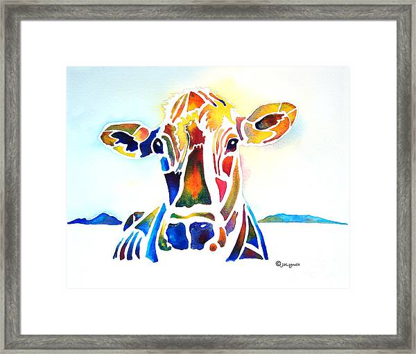 Placid The Cow Framed Print