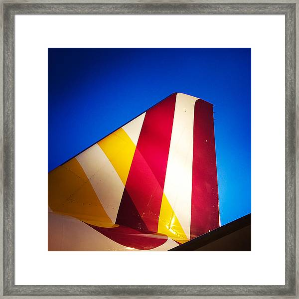 Plane Abstract Red Yellow Blue Framed Print