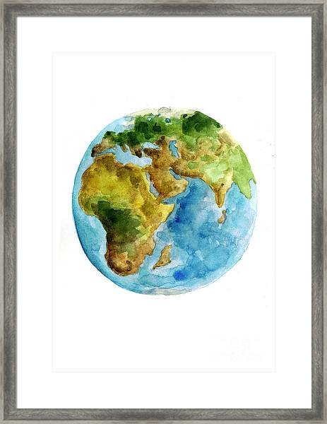 Planet Earth Watercolor Poster Framed Print