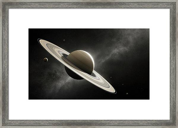 Planet Saturn With Major Moons Framed Print