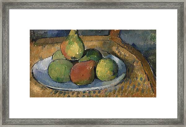Plate Of Fruit On A Chair Framed Print