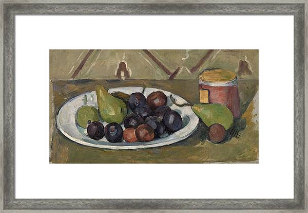 Plate With Fruit And Pot Of Preserves Framed Print