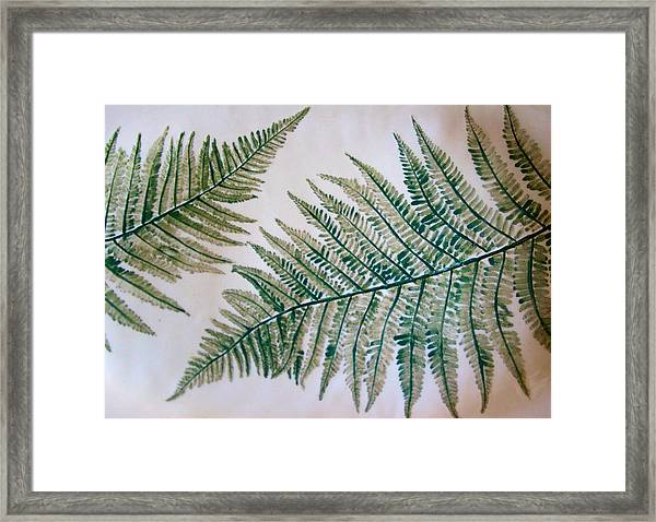 Platter With Ferns Framed Print